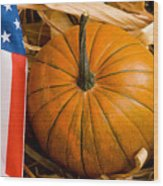Patriotic American Pumpkin Wood Print