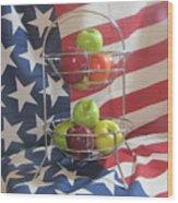 Patriotic Apples Wood Print
