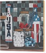 Patriotic Bottles And Jars Wood Print
