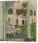 Patriotic Country Porch Wood Print