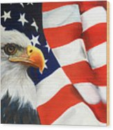 Patriotic Eagle And Flag Wood Print