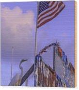 Patriotic Egret Wood Print