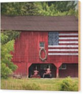 Patriotic Farmer Wood Print