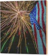 Patriotic Fireworks Wood Print