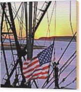 Patriotic Fisherman Wood Print