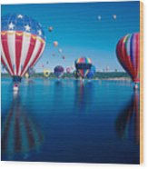Patriotic Hot Air Balloon Wood Print