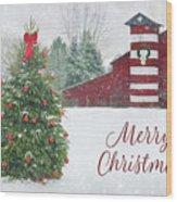 Patriotic Merry Christmas Wood Print