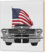 Patriotic Mustang On White Wood Print