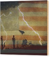Patriotic Operation Desert Storm Wood Print