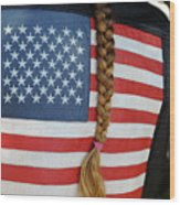 Patriotic Pony Tail Wood Print
