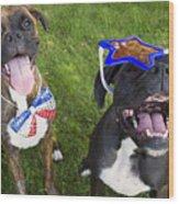 Patriotic Pups Wood Print