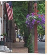 Patriotic Street In Philadelphia Wood Print