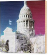 Patriotic Texas Capitol Wood Print