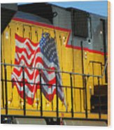 Patriotic Train Wood Print