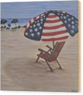 Patriotic Umbrella Wood Print
