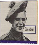 Patriotic World War 2 Poster Us Allies Canada Wood Print