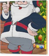 Patriots Santa Claus Wood Print