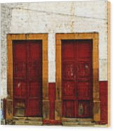 Patzcuaro Doors Wood Print