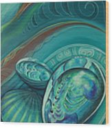 Paua Seabed By Reina Cottier Wood Print