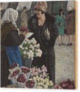 Paul Fischer, 1860-1934, Flower Market In Copenhagen Wood Print