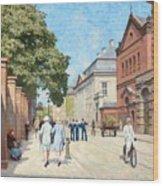 Paul Fischer, Sunny Street Scene, Bredgade, Copenhagen. Wood Print