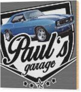 Pauls Garage Camaro Wood Print