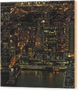 Paulus Hook, Jersey City Aerial Night View Wood Print