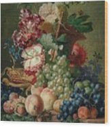 Paulus Theodorus Van Brussel - Still Life Of Flowers And Fruit On A Stone Ledge, Wood Print