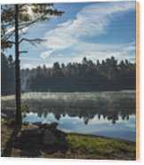 Pauper Lake Morning Wood Print