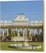 Pavilion And Fountain, Udaipur, India Wood Print