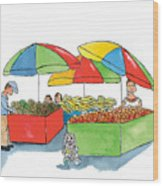 Paw Paw At The Market Wood Print