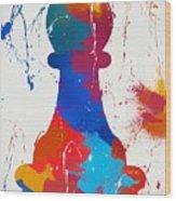 Pawn Chess Piece Paint Splatter Wood Print