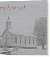 Pawpaw Church Christmas Wood Print