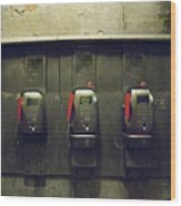 Pay Phones In Alley, Venice Wood Print