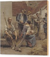 Paying The Harvesters Wood Print