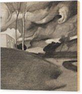 Paysage Aux Lourdes Nuages Wood Print
