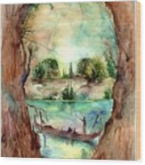 Paysage With A Boat Wood Print