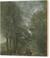Paysans Causant Sur Le Chemin Longeant Wood Print