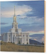 Payson Temple At Dusk Wood Print