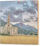 Payson Utah Lds Temple, Sunset View Of The Mountains And Grass Wood Print