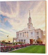 Payson Utah Temple Dramatic View Wood Print