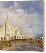 Payson Utah Temple Rainbow Wood Print