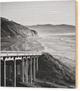 Pch Scenic In Black And White Wood Print