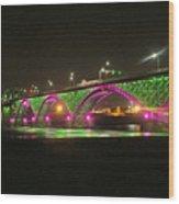 Peace Bridge At Night Wood Print