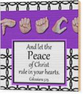 Peace - Bw Graphic Wood Print
