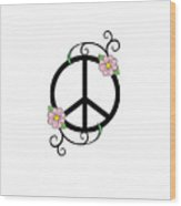 Peace And Daisies Wood Print