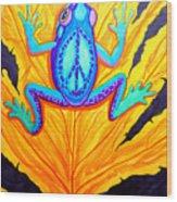Peace Frog On Fall Leaf Wood Print
