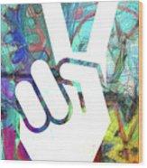 Peace Hand Sign 1  Wood Print