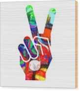 Peace Hippy Paint Hand Sign Wood Print