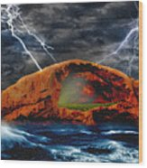 Peace In The Cleft In The Midst Of The Storm Wood Print